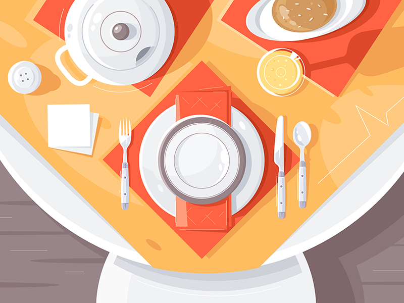 Table setting kit8 flat vector illustration tablecloth teapot cutlery food plate setting table