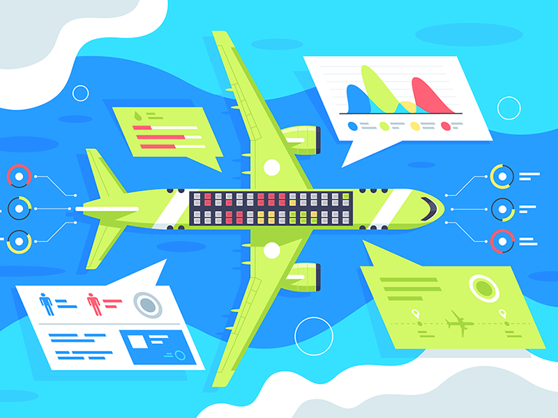 Airplane infographics kit8 flat vector illustration infographic airport season sky blue takes aircraft