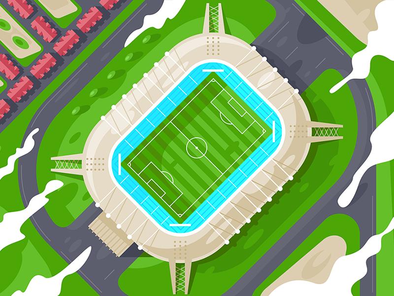 Stadium from height kit8 flat vector illustration field wrestling sport building football height stadium