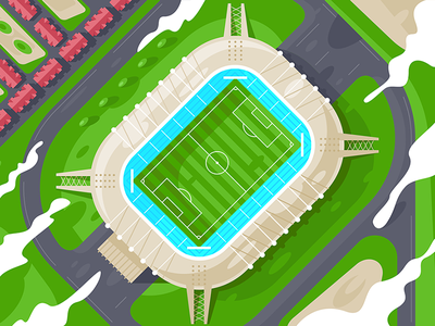 Stadium from height kit8 flat vector illustration field wrestling sport building football height stadium