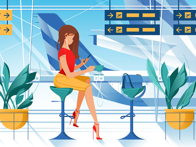 Woman on airport kit8 flat vector illustration zone departure airplane passenger holiday flight tourists
