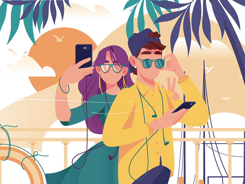 Couple with mobile phone makes photo kit8 flat vector illustration glasses photo phone couple woman man young