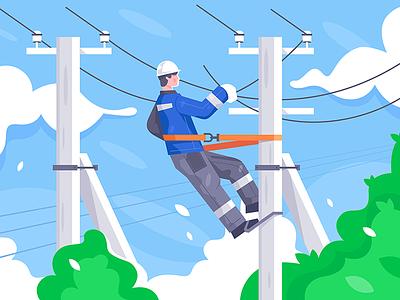 Power lines repair kit8 flat vector illustration transmission electrician repair power man
