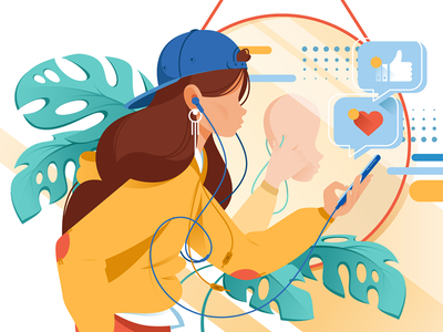 Woman with mobile phone kit8 flat vector illustration view device reality virtual future interface equipment
