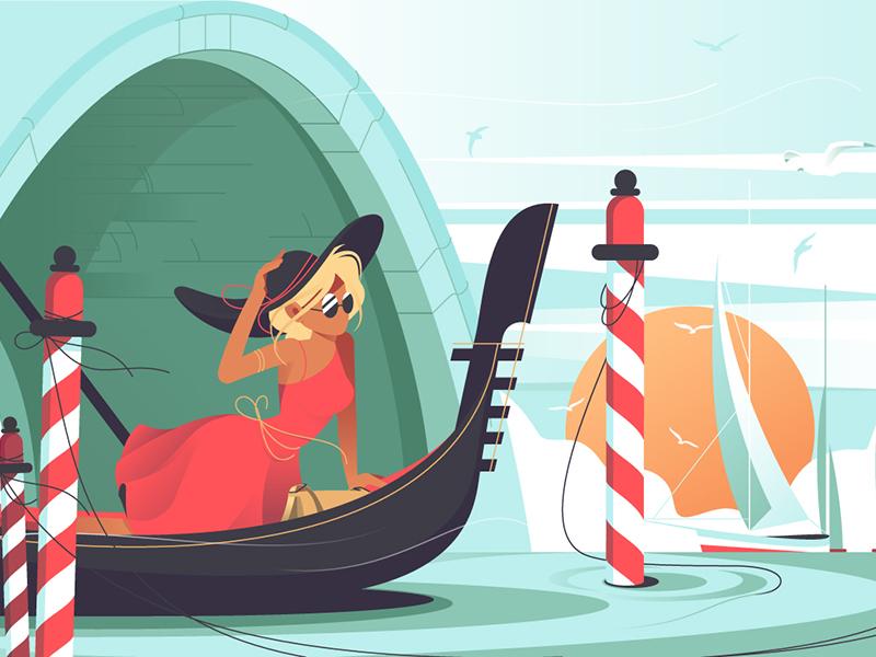 Beautiful Italian canal kit8 flat vector illustration pretty sail gondola woman canal italian beautiful