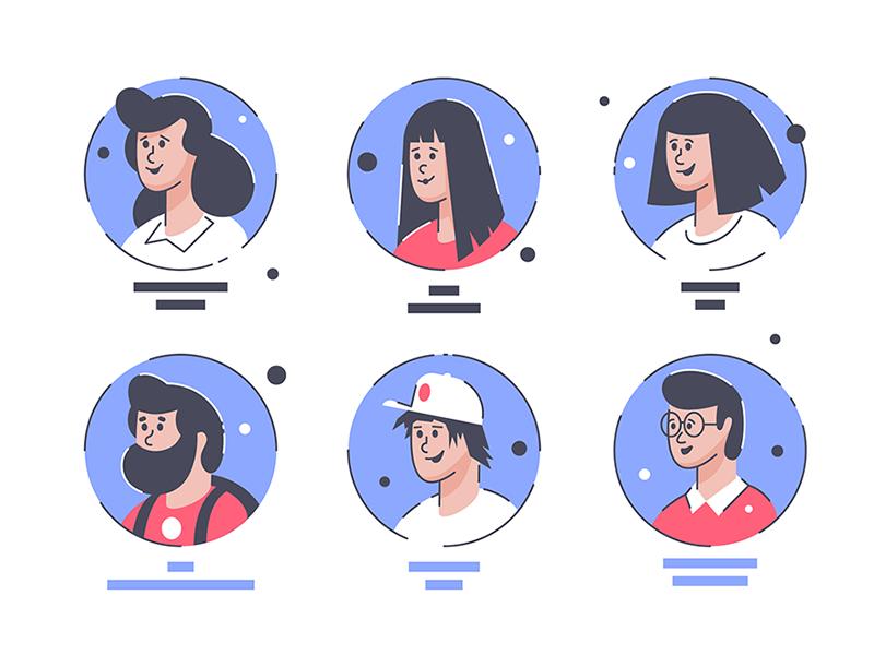 Avatars kit8 flat vector illustration man woman avatars happy symbols collection icons