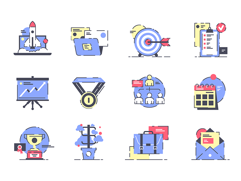 Startup Icons kit8 flat vector illustration website startup interface marketing online project set