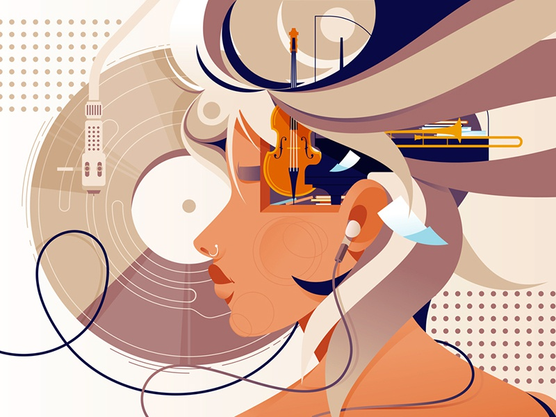 Mind vision with music kit8 flat vector illustration silhouette success headphones instrument music vision mind
