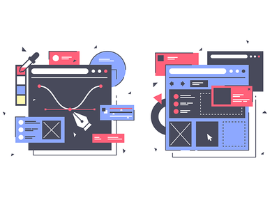 Set icons with web design equipment pixel technology commerce internet site online kit8 flat vector illustration