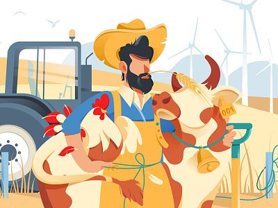 Farmer kit8 flat vector illustration animals farm chicken cow beard man handsome