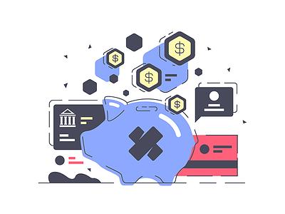 Electronic card in piggy bank kit8 flat vector illustration investing online dollars finance bank piggy card