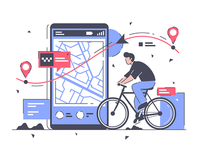 Man with bicycle and way kit8 flat vector illustration smart route location cartography human male businessman
