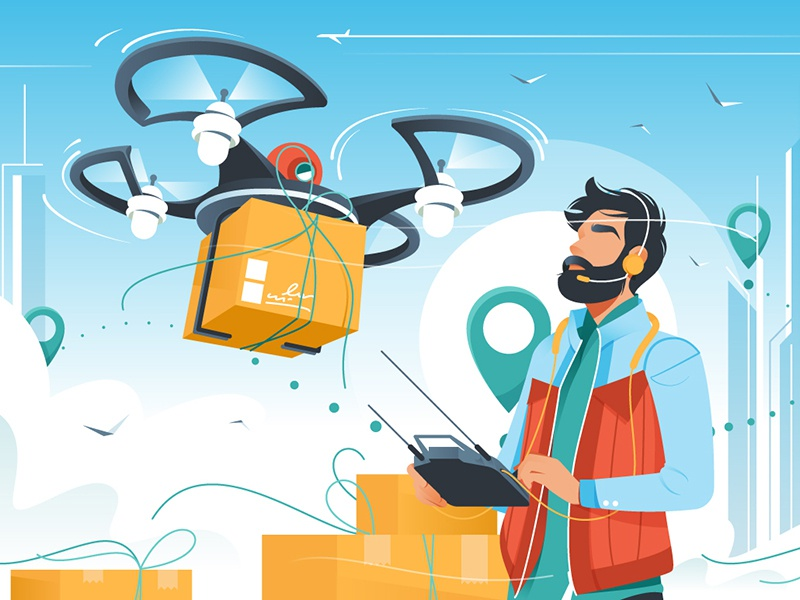Man controls drone delivery kit8 flat vector illustration device smartphone delivery drone architecture marketing shop