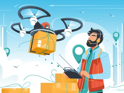 Man controls drone delivery
