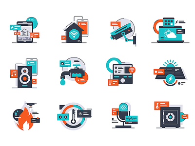 Smart home Icons kit8 flat vector illustration audio successful internet icons element home smartphone