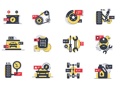 Car service icons kit8 flat vector illustration icons urban support car service chassis mobile