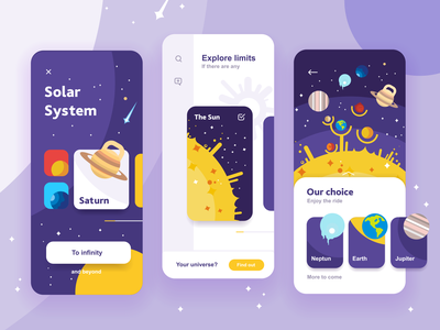 Solar system app concept mobile design concept cards interface iphone ios appdesign science descovery education saturn sun illustration planet ui app solar system