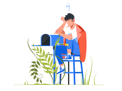 Man worries about lack of mail kit8 flat vector illustration send technology employee postal worries stress handsome