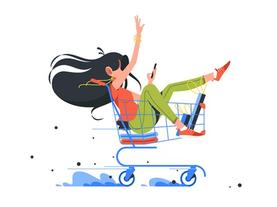 Young girl rides shopping cart kit8 flat vector illustration complete funny trolley service market shopping rides