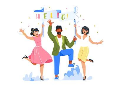 Happy people welcome visitors kit8 flat vector illustration celebrate diverse people welcome smile good happy