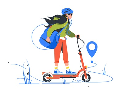 Girl delivery courier on scooter kit8 flat vector illustration kick female service ride commercial delivery person