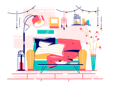 Home interior with furniture kit8 flat vector illustration leisure homely comfortable read place home sweet
