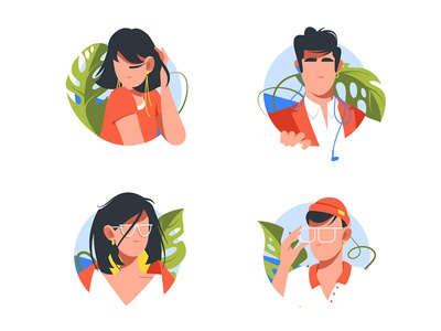 Avatar icon set kit8 flat vector illustration interface view mobile urban sea tropical set