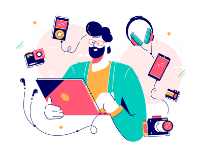 Man surrounded by gadgets kit8 flat vector illustration player wireless communication caucasian device smartphone mobile