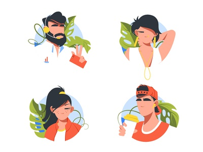 Avatar icon set kit8 flat vector illustration face headset person symbol woman man