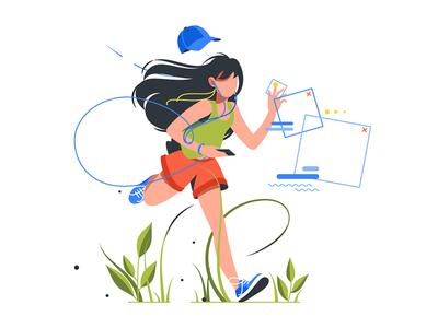 Girl running with phone kit8 flat vector illustration lifestyle wireless runner music woman fitness exercise