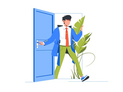 Man come back home after work day kit8 flat vector illustration figure frustration overworked handsome person white rush