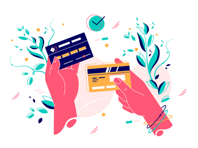 Credit cards in hands kit8 flat vector illustration security shopping service money banking finance paying