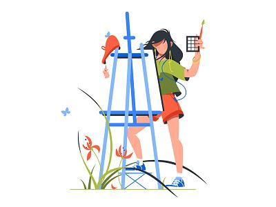 Woman artist holding paintbrush kit8 flat vector illustration workshop element caucasian painter art woman artist