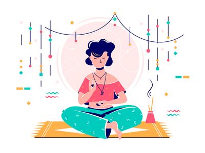 Woman at meditation session kit8 flat vector illustration spiritual stick recreation relaxing session meditation woman