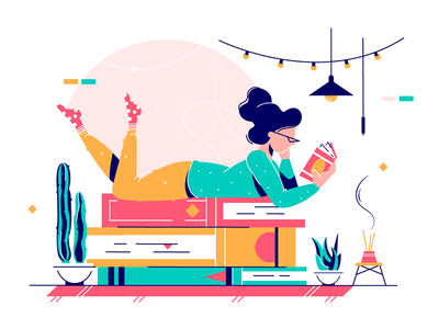 Lady lying on stack of books kit8 flat vector illustration relax library woman stack lying lady cute