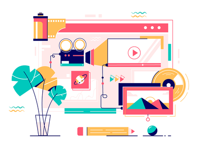 Collection multimedia services of online video, music and photo kit8 flat vector illustration photo services modern web multimedia collection