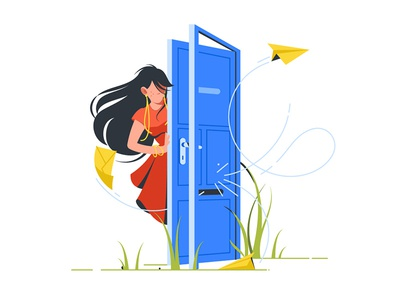 Woman closing door to unsubscribe kit8 flat vector illustration door dress cancellation envelope newsletter woman abstract