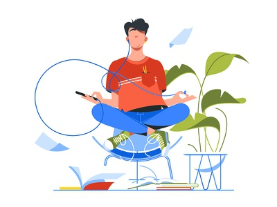 Young man meditating kit8 flat vector illustration casual recreation harmony breathing man handsome young