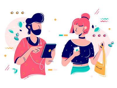 People with gadgets kit8 flat vector illustration listen smartphone chatting couple lifestyle using character