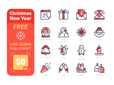 FREE Christmas New Year Pixel Perfect Line icons snowflake snowman social network ball phone contacts mail box present calendar download free new year christmas set icons kit8 line flat