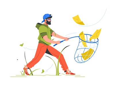 Man catching a mail kit8 flat vector illustration send notification catch mail man