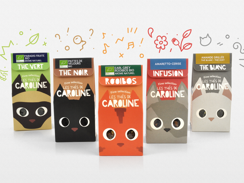 Les Thés de Caroline fun cats tea packaging