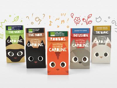 Les Thés de Caroline fun cats tea packaging