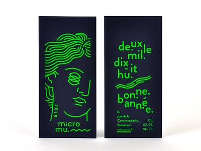 micromu 2018 paper green screenprint fluo card