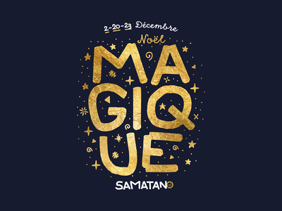 Noël Magique typography stars lettering hand gold christmas