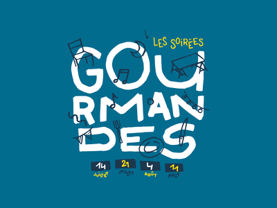 Les soirées gourmandes hand typography blue lettering illustration poster gastronomy france south