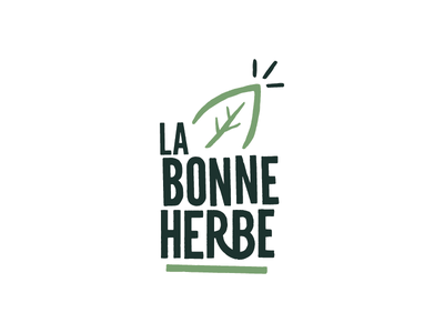 'La bonne herbe' Logotype spices. drawn brush leaf green plant herb logo logotype