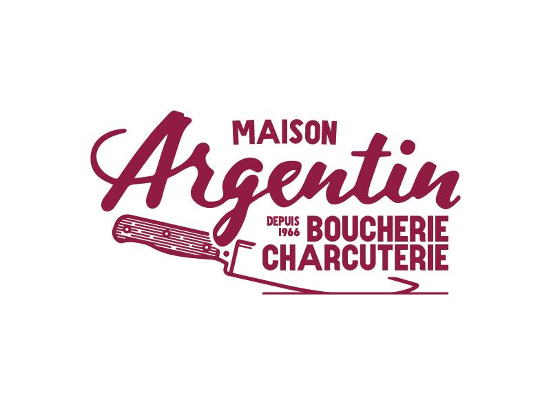 Argentin knife french red vintage handlettering logotype butcher boucherie