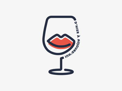 D'Hier à Aujourd'hui wine branding wine glass wine bar vector france beauty winery wine illustration logotype logo