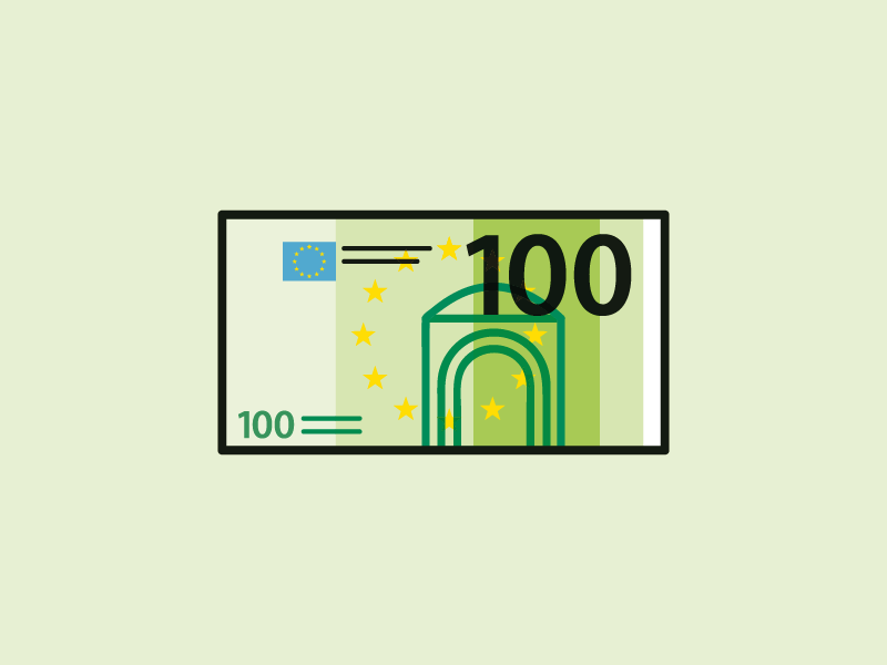 100 euros currency green doors stars european europe euros 100 money pictogram illustration